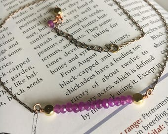 Purple Faceted Jade Bar Necklace, 18 inches - 20 inches