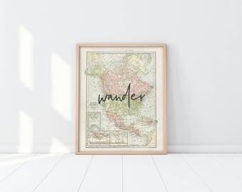 PRINTABLE North America Map Art - Wander - Inspirational Travel Art Print- Office Decor - Nursery Art - Graduation Gift - Digital - SKU:946