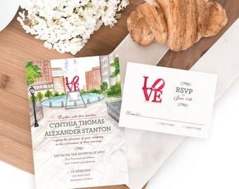 Philly Love Park Wedding Invitation, Watercolor Wedding Invitation, Watercolor Invitation, Philadelphia wedding invitation, LOVE theme