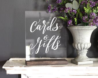 Cards and Gifts Sign, Acrylic Wedding Sign, Gift Table Sign, Card Sign, Custom 8x10 Calligraphy Acrylic Sign, Rustic Vintage Modern Weddings