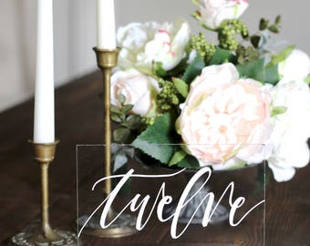Wedding table numbers etsy new acrylic wedding table numbers with stands rustic table numbers calligraphy table numbers sciox Images