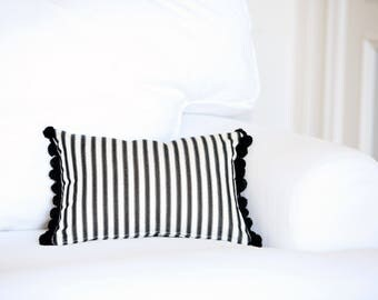 Black and White Striped Pillow Cover - Throw Pillows - Accent Pillows - Decorative Pillows For Couch - Cushion Cover - Pom Pom Pillow