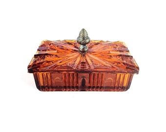 Jewelry box, trinket dish, vintage home decor, acorn, amber glass dish, cigarette holder, smoker gift
