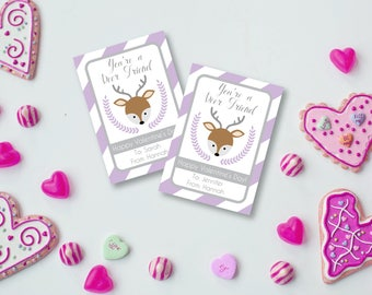 You're a DEER Friend Valentine, Purple Deer Valentine, Valentines for Kids, Classroom Valentines, Editable Valentine, Printable PDF