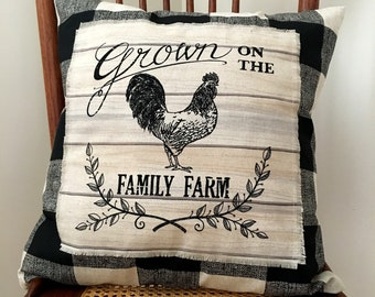 Farmhouse Pillow Cover - Grown on the Family Farm Pillow Cover