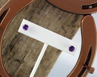 Sterling Silver Post Earrings - Natural Purple Amethyst Earrings - Sterling Silver Posts with 6mm Natural Purple African Amethyst Stones
