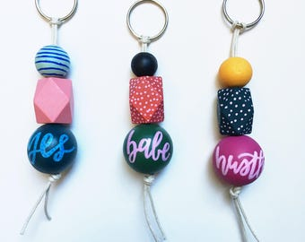 Say what? Keychain | Handpainted & lettered wood bead keychain | Handmade to order