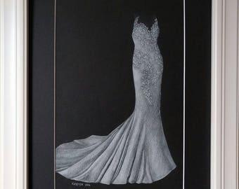 """11""""x14"""" Custom Wedding Gown Drawing"""