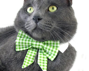 Green Gingham Bow Tie, Necktie, or Bow on a Shirt Style Collar for both Dogs & Cats