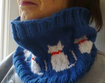 Kitty cat cowl scarf neckwarmer