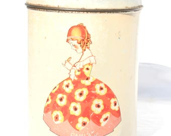 Old Metal Biscuit Tin Made in Holland Paula Kitchen Canister Retro Kitchenware Vintage Kitchenalia