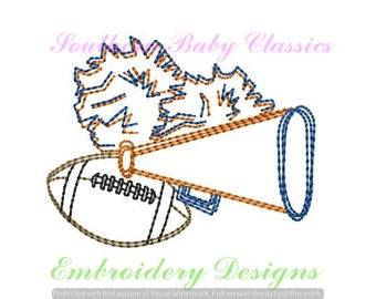 Cheer Cheerleader Football Megaphone Pom Pom Vintage Bean Stitch Design File for Embroidery Machine Instant Download Girl Cute Fall Autumn