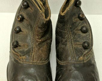 Antique Victorian Black Leather Baby Booties High Top Child's Shoes Collectibles Home Decor Display Prop