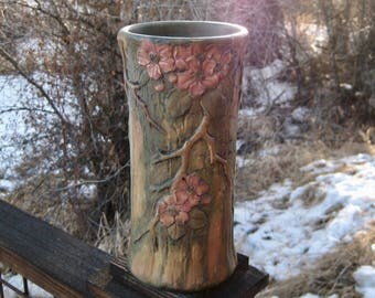 Large Weller Pottery Vase, Woodcraft, Pink Blossom and Branch Motif, Vintage 1920s, Cottage Chic
