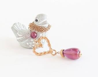 AVON Purple Heart Pendant Necklace