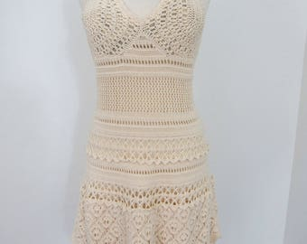 Free Spirit 1960s - 70s Beautifully Detailed Crocheted Halter Dress