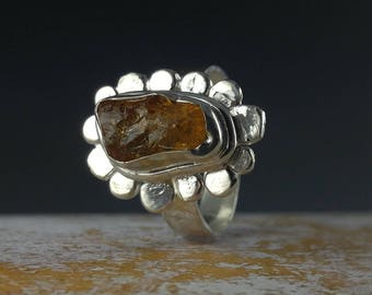 November Birthstone Ring - Rough Citrine Ring - Natural Unheated Untreated Citrine - Sunflower Ring -  Soleil Jewelry - Gold Gemstone Ring