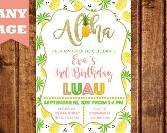 Aloha Invitation, Pineapple Invitation, Luau Invitation, Hawaiian Birthday Invitation, Luau Birthday Invitation, Luau, Aloha, Girl Invite