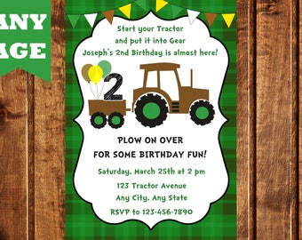 Tractor Birthday Invitation, Tractor Birthday Party, Farm Birthday Invitation, Farm Birthday Party, Boy Birthday Invitation, Digital