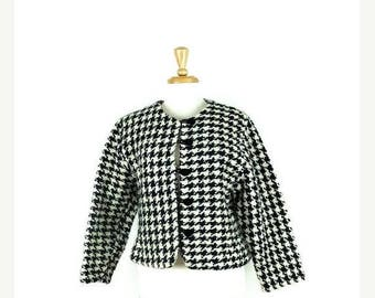 ON SALE Vintage Black/White Houndtooth Wool Collarless Jacket from 1980's*