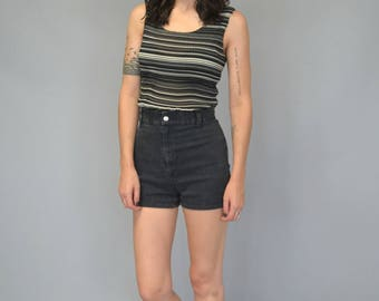 1990s black and white textrued striped tank top