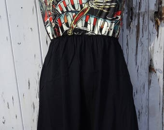True Romance Tattoo Skulls Black Dress - Size 10 12 14 Horror Rockabilly Skater