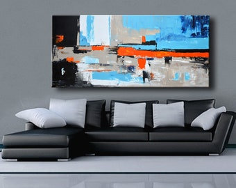 """75"""" Large ABSTRACT PAINTING White Blue Orange Gray Black Painting Original Canvas Art Modern Painting Wall Decor #35Ci5"""