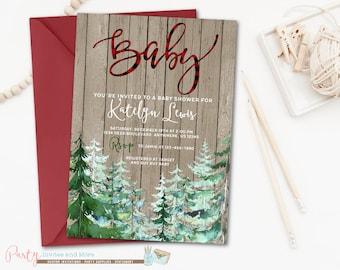 Buffalo Plaid Baby Shower Invitation, Rustic Baby Shower Invitation, Pine Tree Baby Shower Invitation, Conifer Tree Invitation