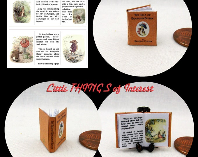 The TALE Of BENJAMIN BUNNY Miniature Book Dollhouse 1:12 Scale Illustrated Book Beatrix Potter Peter Mr. McGregor