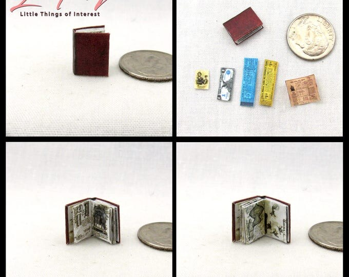 1/24 Scale JONES DIARY Miniature Book Dollhouse Illustrated Book Indiana Jones Movie Holy Grail Diary Last Crusade Lost Ark Temple of Doom