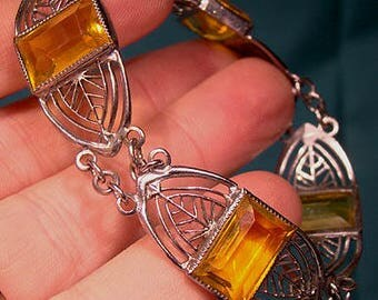 Art Deco Chrome Yellow Crystal Bracelet 1920s