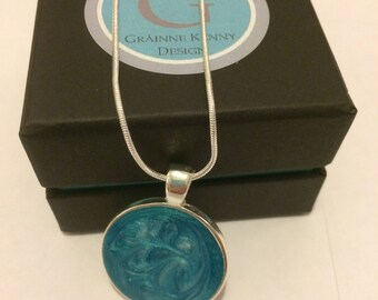 Small Circular 'Ocean' Sea Study Inspired Pendant