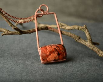 gemstone pendant red jasper necklace copper boho jewelry unique necklace red stone jewelry artisan mom gift for her metalwork jewelry