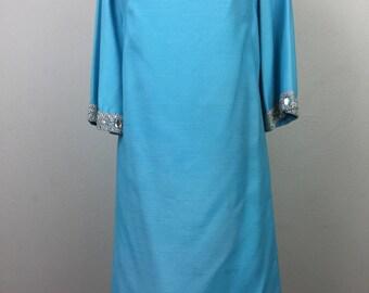 Vintage 60s Blue MOD Shift Dress w/ Silver Crochet Trim Rhinestones Party Dress S/M