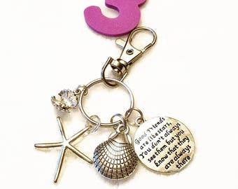 MERMAID Charm KEY RING w/ Clip Beach Inspirational Pendant Jewelry Fairytale Seashell Key Chain Car Mirror Hanging Ornament Zipper Charms