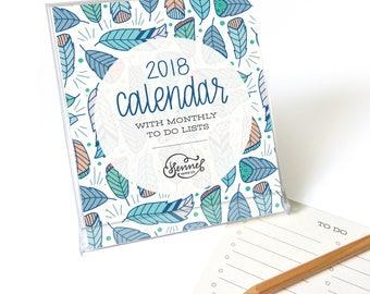2018 Desk Calendar with clear stand - 2018 calendar - desktop calendar - seasonal patterns - Hennel Paper Co. - CD1