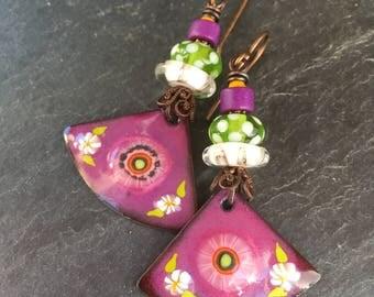 Garden Tea Party, Tea Earrings, Summer Flower Earrings, Enameled Copper Dangle Earrings, Handmade Lamwork Glass, Art Beads, Blue Hare