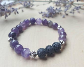 Essential Oil Diffuser Bracelet, Aromatherapy Bracelet, Amethyst Bracelet, Amethyst Stone Jewelry, Amethyst Bangle, Healing Stone Jewelry