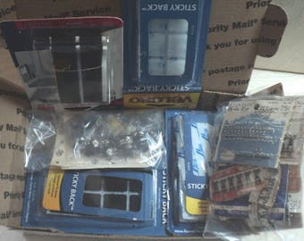 SEWING NOTIONS, Sewing Supplies, Velcro, Snaps, Hooks & Eyes, Box of Sewing Needs, Assorted Notions, Mixed Lot