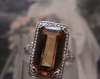 Classic Sterling Filigree Golden Citrine Ring  Size 5.75