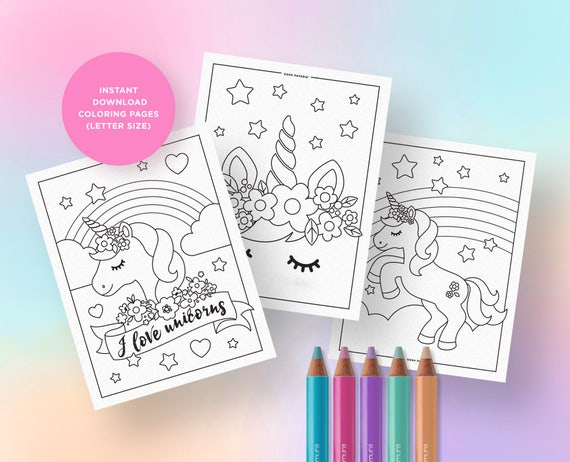 Unicorn Coloring Pages Party Activities Birthday