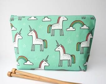 Mint Unicorn Knitting Bag, Knitter Gift, Sock Knitting Bag, Crochet Project Bag, Large Rainbow Zipper Pouch, Sock Sack, Knitting Project Bag