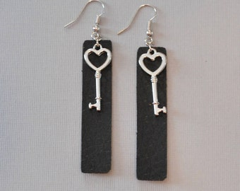 Black leather earrings.  Key to My Heart.