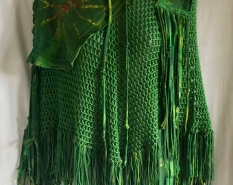 capelet ,cape, shawl, poncho, altered clothing, hippie boho bohemian, unique tops, size small medium, shoulder warmer, green, fall sweater