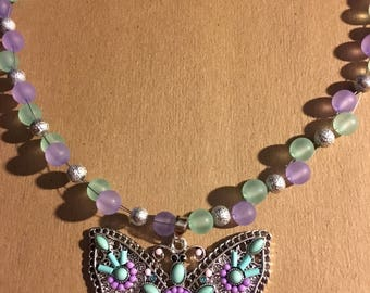Butterfly & glass beaded necklace