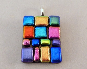 Colorful Dichroic Fused Glass Pendant, Multi Colored, Fused Glass, Fused Glass Pendant, Glass Pendant, Dichroic Pendant, Pendent