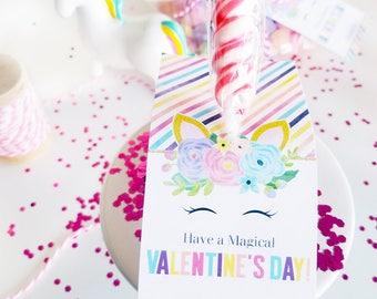 Valentines Unicorn Tag, Unicorn Valentine, Valentines Unicorn Sticker, Valentines Day Tags for Kids, Valentines Day, Valentines Exchange