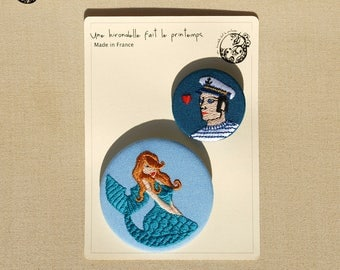 Embroidered brooches DUO, the ocean lover