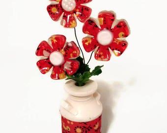 Fabric Flowers Milk Jug New Designs Inc Kitschy Farmhouse 70's Prop Tacky Shabby Decor