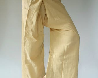 TCP0126 Beige Thai fisherman/Yoga are pants Free-size: Will fit men or woman